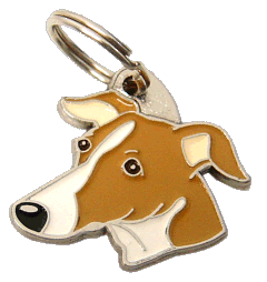 WHIPPET WHITE BROWN - pet ID tag, dog ID tags, pet tags, personalized pet tags MjavHov - engraved pet tags online